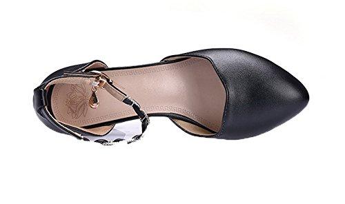 eleganti chiusa Tacco fibbia Sandali Agoolar Punta Nero medio Donna Gmxlb009409 con O8wnxEBq61