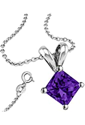 Synthetic Amethyst Cubic Zirconia Necklace Pendant with 18 Inch Rolo Chain in 925 Sterling Silver