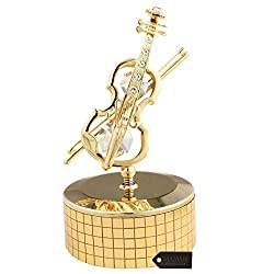 Gold Plated Violin Crystal Music Box