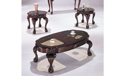 Amazon Com Cherry Finish 3 Piece Coffee Table Set Cofee Table 2 End Tables Kitchen Dining