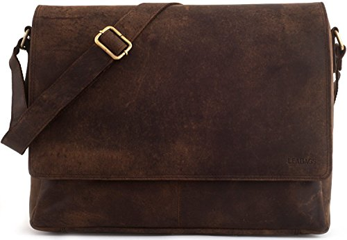 LEABAGS Oxford genuine buffalo leather messenger bag in vintage style - (Suede Messenger Bag)