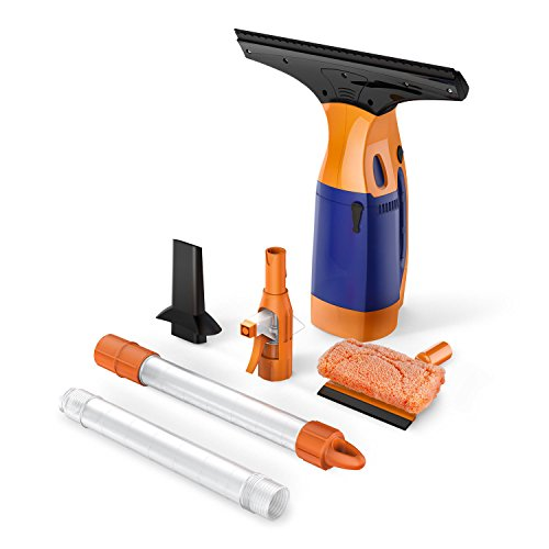 - BESTEK Telescopic Window VAC, Cordless Window Cleaning Rechargeable Tool Kit, Squeegee with Sponge, with 2 Extension Telescopic Tube, Spray Bottle