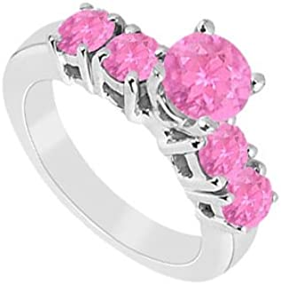 Created Pink Sapphire Ring 925 Sterling Silver 1.50 CT TGW