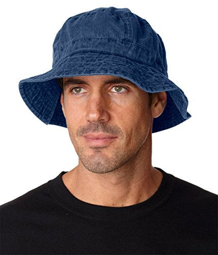 Adams Vacationer Pigment Dyed Twill Bucket Cap (Navy) (XL) (Pigment Solid Dyed Twill Cap)