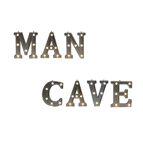 - Small Alphabet Man Cave Combination Wall Decor LED Letter Night Lights, Light up Silver Plastics Letters Standing Hanging for Home Party Bar Decoration