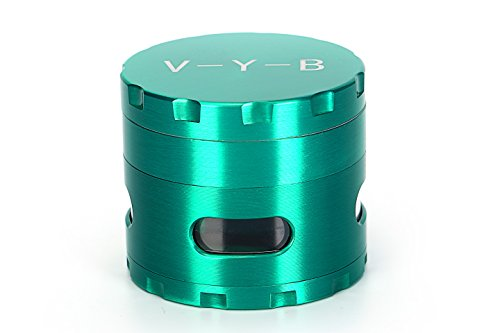 Large Spice Tobacco Herb Weed Grinder - Four Piece with Pollen Catcher - 2.5 Inches - Premium Grade Aluminum(Green)