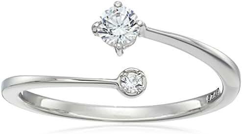 Platinum-Plated Sterling Silver Swarovski Zirconia 2-Stone Round Ring