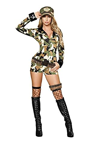 3 Piece Army Babe Camo Long Sleeve Romper w/ Accessories Party Costume