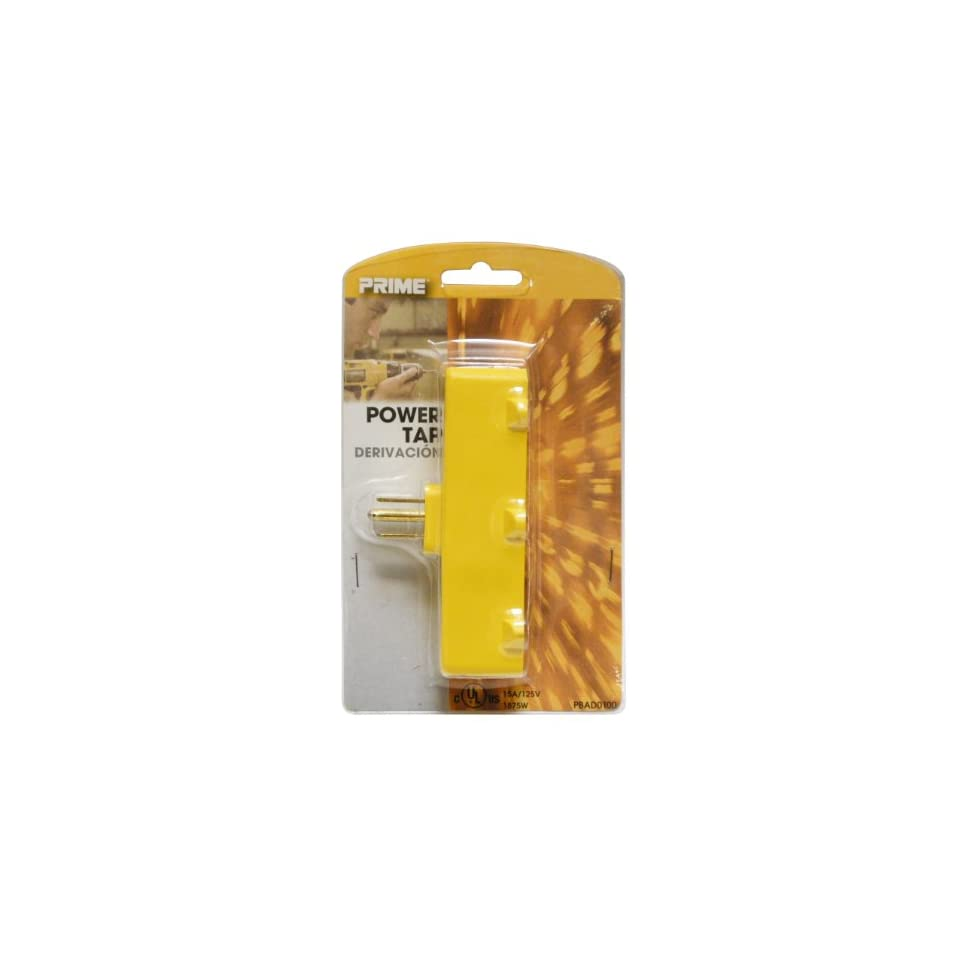 Prime Wire & Cable PBAD0100 3 Outlet Adapter, Yellow