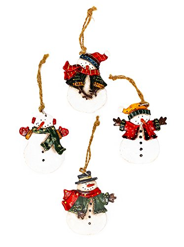 Christmas Snowman Ornament Decorations Set of 4, Resin, Painted, Jute Hanger, Gift Tags ()