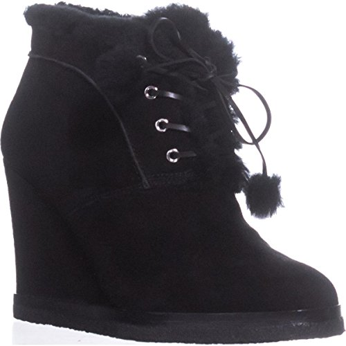 (Michael Kors Women's Chadwick Black/Palladium Kid Suede/Black Shearling/Pom Pom)