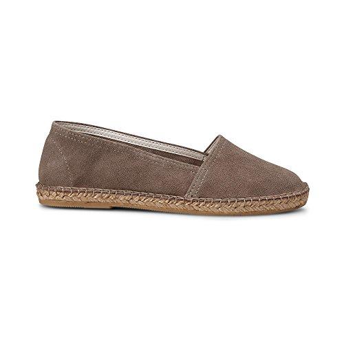 Cox Signore Camoscio Espadrille-marrone, Pantofola Con Bast-sole Taupe
