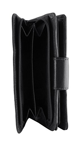 Tanned Black Grain Top Secure RFID Wallet Leather Mancini Clutch Vegetable Leather Goods Inc Men's wOxq0AB