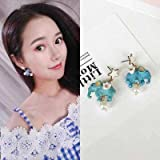 usongs s925 silver needle-pointed star three-dimensional flowers Thai Elephant pearl necklace pendant earrings