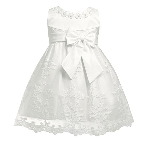 iEFiEL Baby Girls Lace Bowknot Flower Dress Wedding Pageant Baptism Christening Tutu Gown Ivory Floral Embroidered 6-9 ()