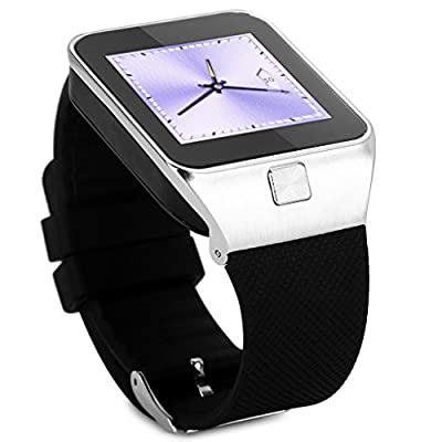 Wmicro WM-01 2015 Muilt-Function Unlocked Touch Screen Wrist GSM Watch Cell Phone w/ Camera Video Player FM Fitness Tracker Etc + Bluetooth Smart Watches Smartwatch For Android Phones Tab Tablet Sync Call Music Notifications Anti-lost Remote Capture
