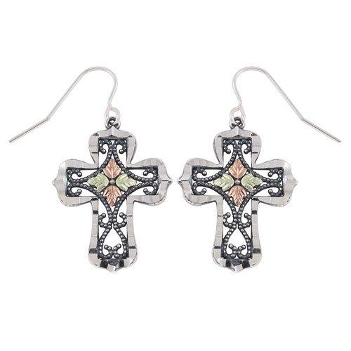 Black Hills Gold Oxidized Cross Earrings in Sterling Silver ()