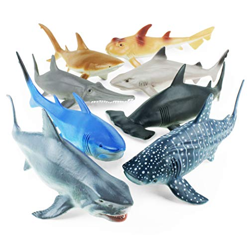Boley 8 PC Shark Figure Toys - Realistic Looking Ocean Sharks - Sea Creatures Great for Party Favors, Bath Time, and -