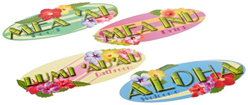 Beistle 55327 4-Pack Hawaiian Sign Cutouts, 14-Inch ()