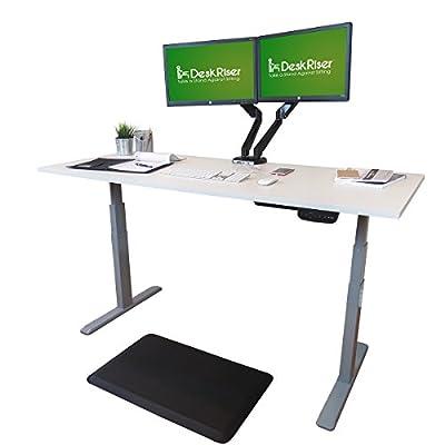 "Electric Standing Desk Converter - Gray Electric Stand Up Desk Frame - DUAL MOTOR Ergonomic Standing Base - Fits 48"" to 85"" Wide Desktops"