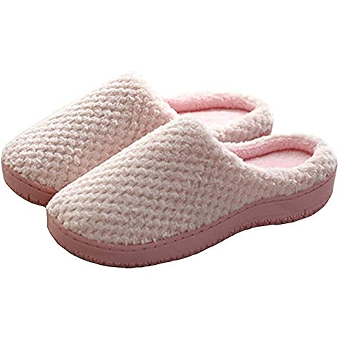 Ofoice Mens Womens Memory Foam Slippers,Comfort Indoor House Shoes with Non-Slip Rubber Sole