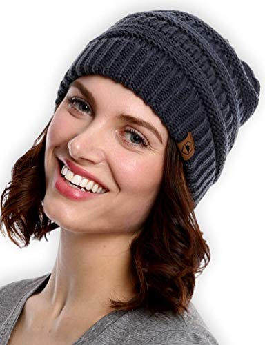 Tough Headwear Cable Knit Beanie - Thick, Soft & Warm Chunky Beanie Hats for Women & Men - Serious Beanies for Serious Style -