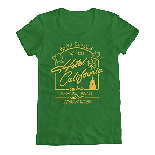 GEEK TEEZ The Eagles Inspired Hotel California Tribute Women's T-Shirt Kelly Green XX-Large (Womens Fast Life)