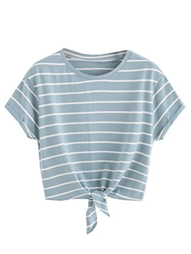 - ROMWE Women's Knot Front Long Sleeve Striped Crop Top Tee T-shirt, Green & White, Large(US 8-10)