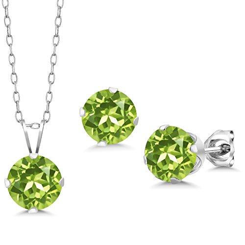 Gem Stone King 4.05 Ct Round 7mm Green Peridot 925 Sterling Silver Stud Pendant Earrings Set