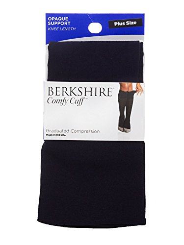 (Berkshire Comfy Cuff Plus Opaque Graduated Compression Trouser Socks, Navy, Queen Size)