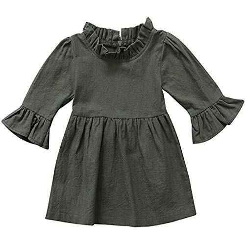 Seven Young Kids Dress Toddler Baby Girls Dark Natural Olive Linen Ruffled Pullover Fall Winter Casual Playwear Princess Dress (Green, 2-3 T)