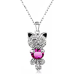 Caperci Cute Lucky Cat With Swarovski Pink Crystal Pendant Necklace For Women