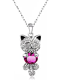 Cute Lucky Cat Swarovski Crystal Pendant Necklace for Women and Girls
