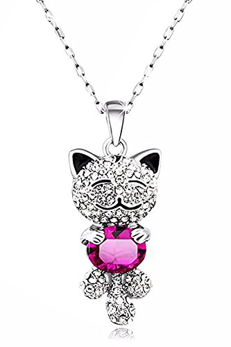 Pendant Cat Lucky - Caperci Cute Lucky Cat with Swarovski Elements Pink Crystal Pendant Necklace for Women