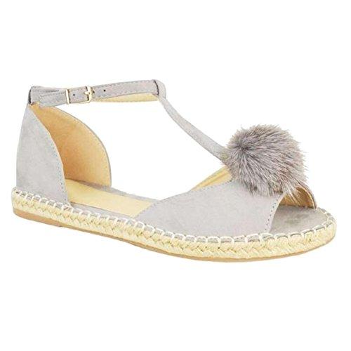 bar Espadrilles T Peeptoe Dames Gris Escarpins Femmes Plat Pom Hibote Sandales Chaussures q7O4YO