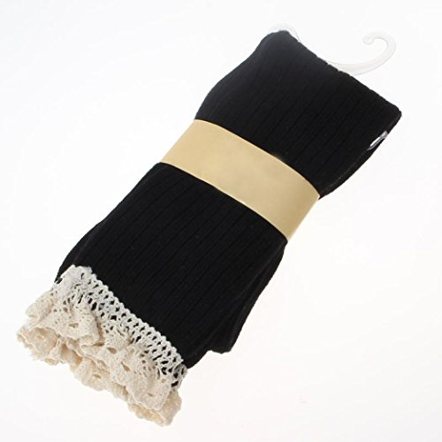 Creazy® Women Crochet Lace Trim Cotton Knit Footed Leg Boot Knee High Stocking Black drrdY1hY