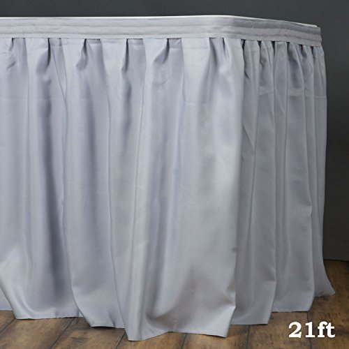 Efavormart 21ft Silver Accordion Pleat Polyester Table Skirt for Kitchen Dining Catering Wedding Birthday Party Decorations Events - Skirt Polyester 21' Table