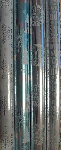 4 x Argos Foil Xmas Christmas Gift Wrap Duo Pack Wrapping Paper 2m x 70cm New