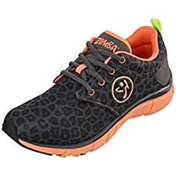 Zumba Women's Fly Print Dance Shoe, Charcoal Leopard/Coral, 5 M US