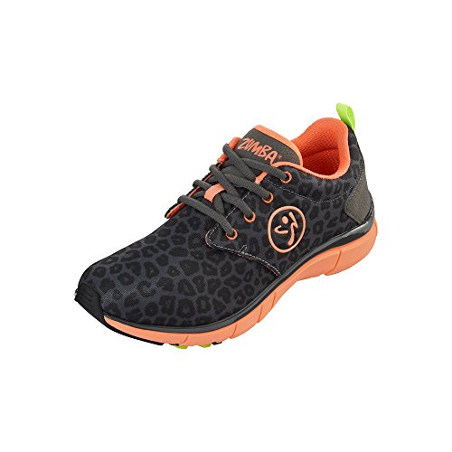 Zumba Women's Fly Print Dance Shoe, Charcoal Leopard/Coral, 7 M US by Zumba