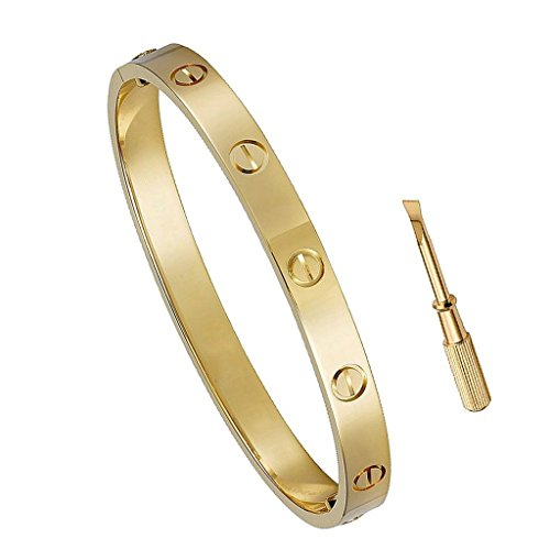 Plazar Birthday Gift for Her Love Bracelet- Titanium Steel Screw Hinged Cuff Bangle Bracelet Yellow Gold 6.5IN (Hinged Bangle Metal)
