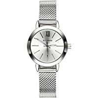 OLMECA Men's Watch Luxury Fashion Simple Wrist Watches Stainless Steel Leather Band Analog Quartz Waterproof Watch for Men Chronograph Clock (K-Silver)