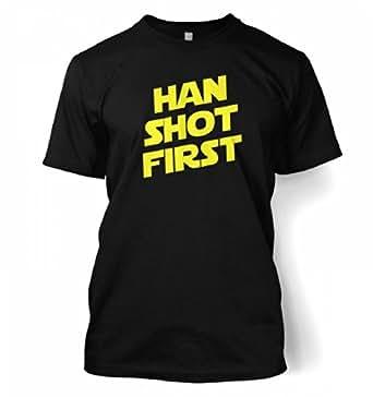 "Han Shot First T-shirt - Films,TV And Movie Geeky Tshirt - Black Small (34/36"")"