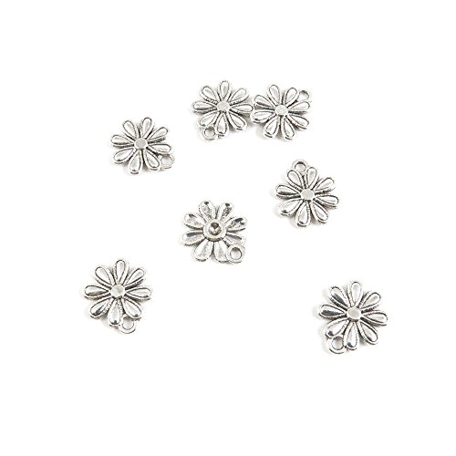 (30 Pieces Antique Silver Tone Jewelry Making Charms E8OE5 Daisy Flower Pendant Ancient Findings Craft Supplies Bulk Lots)