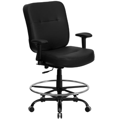 Flash Furniture Hercules Series 400 lb. Capacity Big and Tall Black Leather Drafting Stool with Arms and Extra Wide Seat