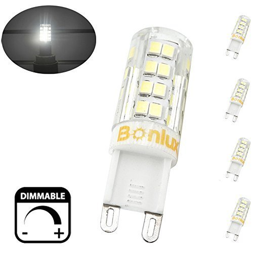 Bonlux 4-Pack Dimmable 4W G9 Capsule LED Bulb Cool White 6000K 220V ...