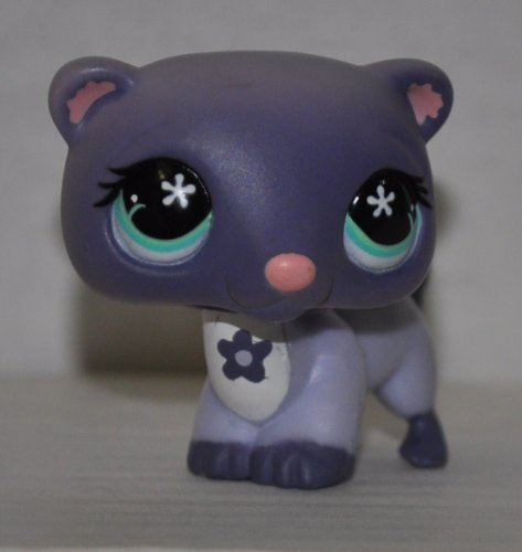 Ferret #482 (Gray/Purple) - Littlest Pet Shop (Retired) Collector Toy - LPS Collectible Replacement Figure - Loose (OOP Out of Package & Print)