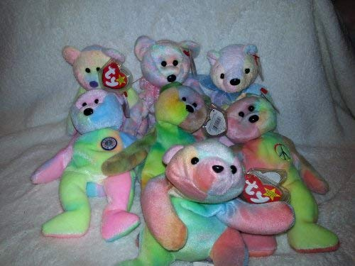 Ty Dye Beanie Babies - Garcia (Extremely Rare), Peace, Mellow, Groovy, Celebrate, B.B. Bear, and Sammy