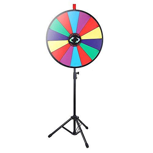 WinSpin 24 Color Prize Wheel Fortune w Folding Tripod Floor Stand Carnival Spinnig Game