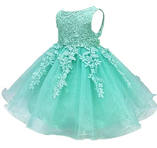 Shiny Toddler Little Girls Lace Applique Birthday Party Flower Girl Dress with Petticoat,5 to 6,Mint Green ()